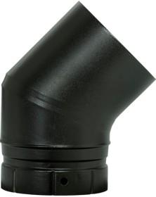 Coude émaillé segment noir mat 45° pour poêle a bois - Poujoulat