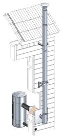 Conduit de cheminée double paroi - Kit extérieur Poujoulat inox-inox - Ø200mm