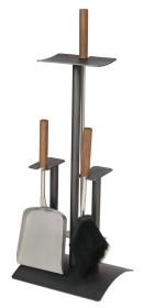Serviteur de cheminée 3 accessoires en anthracite avec des accessoires en inox et manche en noyé – Lienbacher