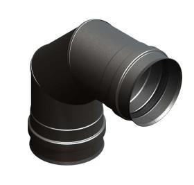 Coude fixe 90° avec double manchon, noir