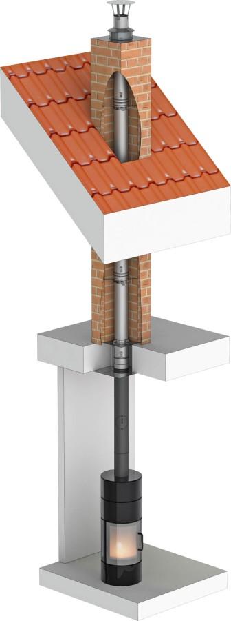 Tubage inox rigide simple paroi - rénovation de conduit maçonné - Ø150mm