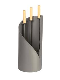 Serviteur de cheminée rond epoxy anthracite, poignées bois, 3 accessoires - Lienbacher