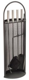 Serviteur de cheminée socle et accessoires anthracite epoxy, 4 accessoires - Lienbacher
