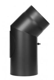 Coude fixe 45° avec trappe d'entretien - noir - conduit poêle à bois - TEC-FR