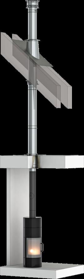 Conduit de cheminée inox double paroi - Kit intérieur TEC-DW-Standard - Ø80mm