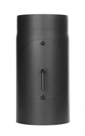 Elément droit 300mm avec clapet papillon et trappe d'entretien - noir - Conduit poêle à bois TEC-FR