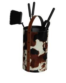 Serviteur de cheminée en simili-cuir, forme ronde, 4 accessoires - Lienbacher