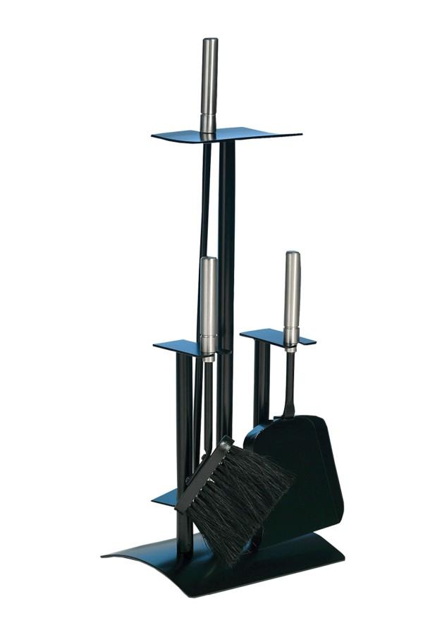 Serviteur de cheminée epoxy noir, 3 accessoires - Lienbacher