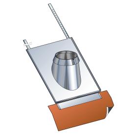 Solin 30° à 45° tuiles avec collerette - double paroi - inox-inox - Poujoulat