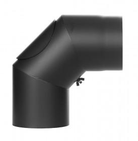 Coude fixe 90° avec trappe d'entretien - noir - conduit poêle à bois TEC-FR