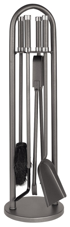 Serviteur de cheminée en epoxy anthracite, 4 accessoires - Lienbacher