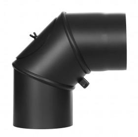 Coude mobile 0-90° avec trappe d'entretien - noir - conduit poêle à bois TEC-FR