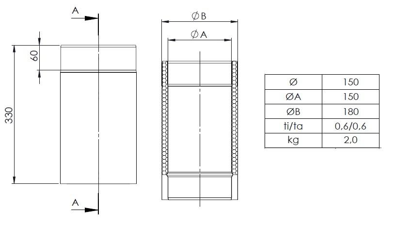 el ment droit 330mm noir conduit double paroi tec fr isoline chemineeo. Black Bedroom Furniture Sets. Home Design Ideas