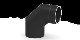 Coude fixe 90° - double paroi - gris - TEC-FR-ISOLINE
