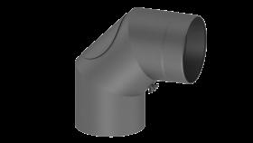 Coude fixe 90° - double paroi - avec trappe d'entretien - gris - TEC-FR-ISOLINE
