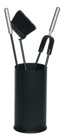 Serviteur de cheminée rond avec pot couleur noir - Lienbacher