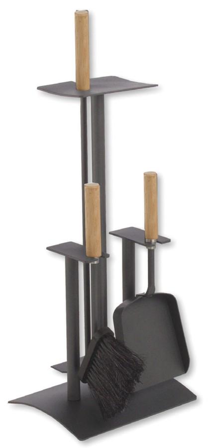 Serviteur de cheminée epoxy anthracite, 3 accessoires- Lienbacher