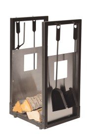 Serviteur de cheminée range-bûches et 4 accessoires epoxy noir