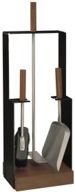 Serviteur de cheminée en epoxy noir, 3 accessoires - Lienbacher
