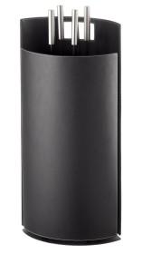 Serviteur de cheminée en simili-cuir noir, 4 accessoires - Lienbacher