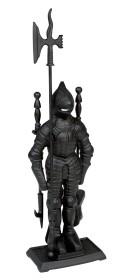 Serviteur de cheminée chevalier en fonte, 3 pièces - Lienbacher