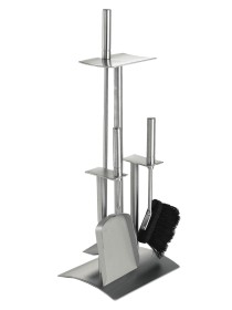 Serviteur de cheminée en acier inoxydable brossé mat, 3 accessoires - Lienbacher