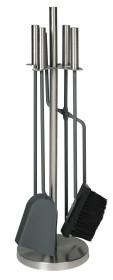 Serviteur de cheminée socle et accessoires inox brossé mat, 4 accessoires - Lienbacher