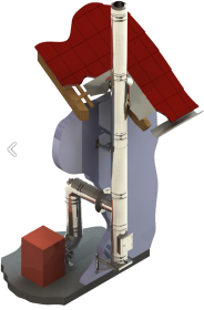 Conduit de cheminée inox double paroi - Kit extérieur TEC-DW-FU- Ø130mm