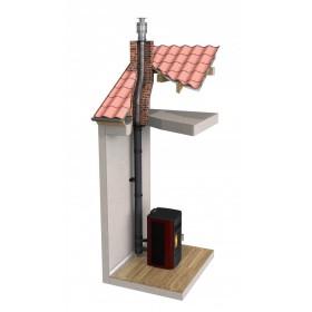 Conduit concentrique vertical en ventouse - noir - Ø80 mm