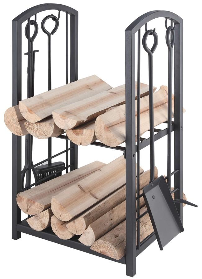 Etager à bois bûches, noir - Lienbacher