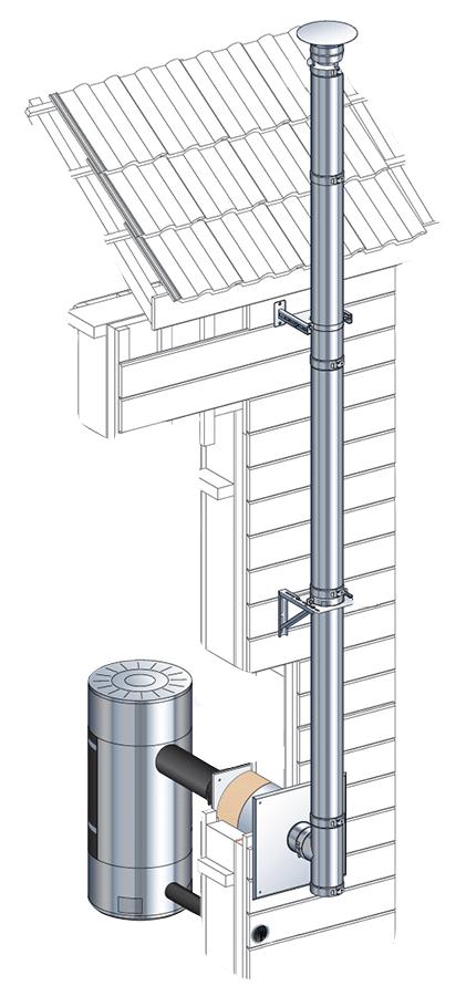 Conduit de cheminée double paroi - Kit extérieur Poujoulat inox-inox - Ø180mm