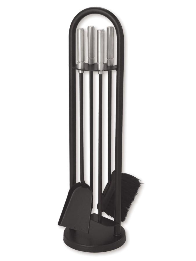 Serviteur de cheminée epoxy noir, 4 accessoires - Lienbacher