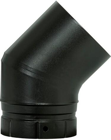 Coude émailée noir mat 45° - poêle a bois - Poujoulat