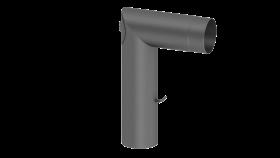 Coude avec trappe d'entretien et clapet papillon - gris - conduit poele a bois - double paroi - TEC-FR-ISOLINE