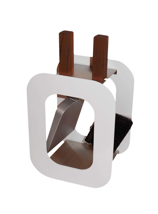 Serviteur de cheminée design modèle Cube Blanc, 2 accessoires - Lienbacher