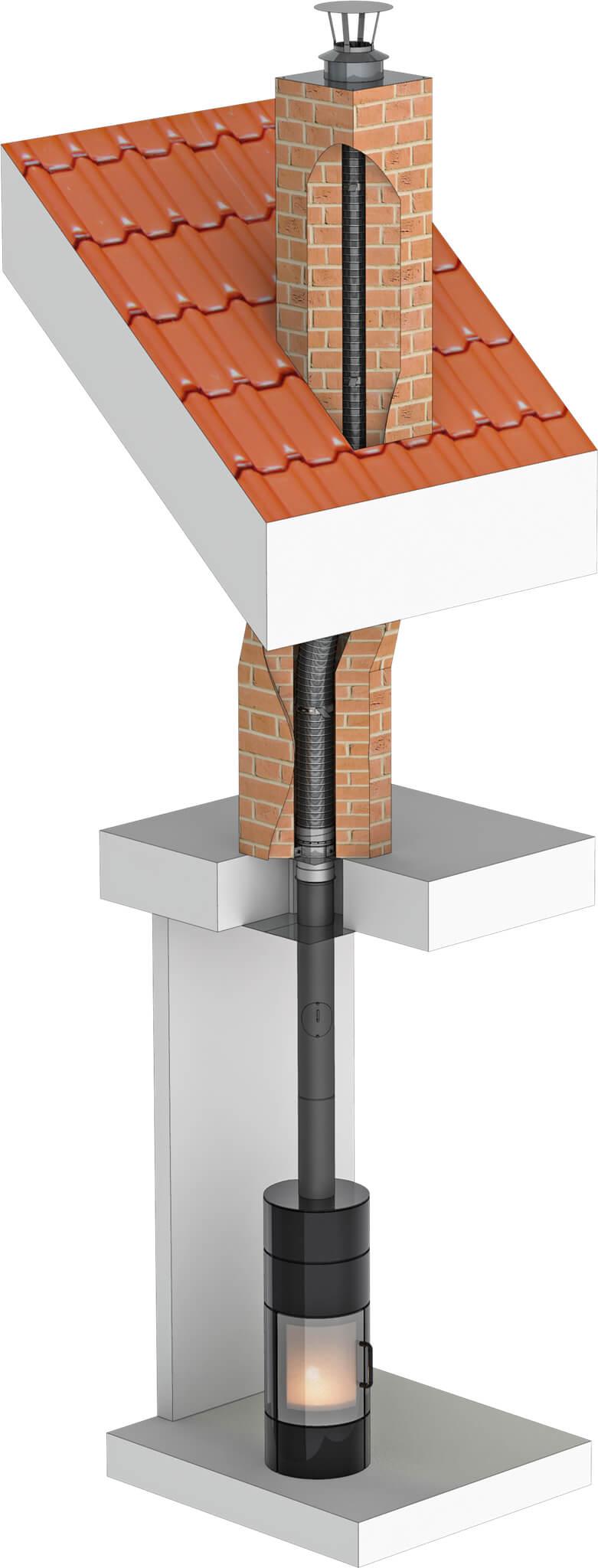 Tubage inox flexible double peau - rénovation de conduit maçonné - Ø120mm