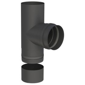Conduit poêle à granule - Té de raccordement avec cuvette à condensat récoupable - 90° - noir - Tecnovis Pellet-Line