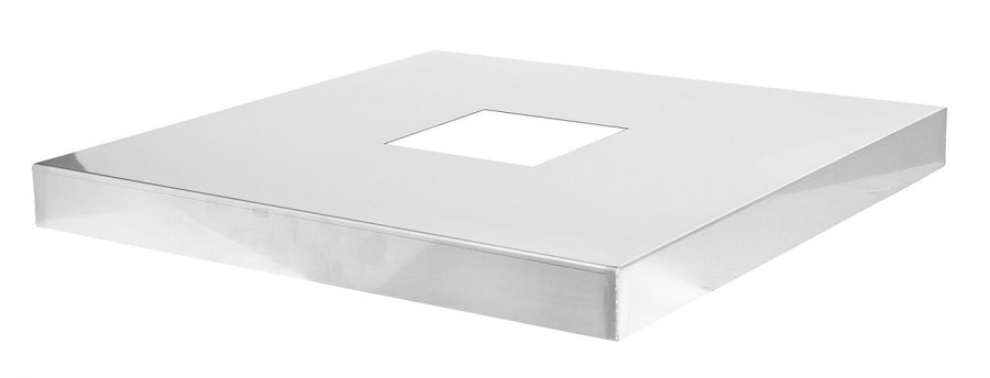 Kaminabdeckplatte-ABE - aus Edelstahl, Ausschnitt eckig