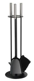 Serviteur de cheminée socle rond, epoxy noir,3 accessoires - Lienbacher