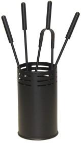 Serviteur de cheminée rond avec pot couleur noir, 4 accessoires - Lienbacher