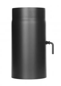Elément droit 300mm avec clapet papillon - noir - Conduit poêle à bois TEC-FR