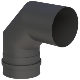 Conduit poêle à granule - Coude fixe 90° avec double manchon - noir - Tecnovis Pellet-Line